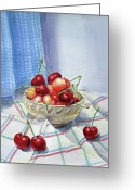 Groceries Greeting Cards - It Is Raining Cherries Greeting Card by Irina Sztukowski