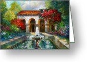 Religious Building Greeting Cards - Italian Abbey garden scene with fountain Greeting Card by Gina Femrite