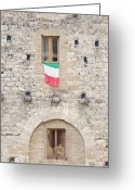 Building Detail Greeting Cards - Italian Flag Flying on a Medieval Building Greeting Card by Rob Tilley