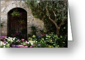 Old Tree Greeting Cards - Italian Front Door Adorned with Flowers Greeting Card by Marilyn Hunt