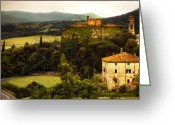 Winding Road Greeting Cards - Italian Landscape Greeting Card by Marilyn Hunt