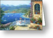 Flower Pots Greeting Cards - Italian Lunch On The Terrace Greeting Card by Marilyn Dunlap
