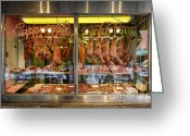 South Philly Greeting Cards - Italian Market Butcher Shop Greeting Card by John Greim