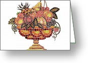 Apricot Painting Greeting Cards - Italian Mosaic Vase With Fruits Greeting Card by Irina Sztukowski
