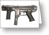 Firearms Photo Greeting Cards - Italian Spectre M4 Submachine Gun Greeting Card by Andrew Chittock