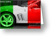 Red Ferrari Greeting Cards - Italian Stallion . 2003 Ferrari 575M Greeting Card by Wingsdomain Art and Photography