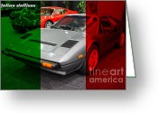 1984 Greeting Cards - Italian Stallions . 1984 Ferrari 308 GTS QV Greeting Card by Wingsdomain Art and Photography