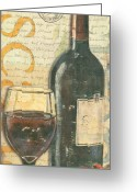 Purple Painting Greeting Cards - Italian Wine and Grapes Greeting Card by Debbie DeWitt