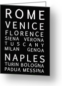 Text Map Photo Greeting Cards - Italy Cities - Bus Roll Style Greeting Card by Nomad Art And  Design