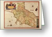Antique Map Digital Art Greeting Cards - Italy, Vatican Church State,  Tuscany, Elba Island, And Marche Region Greeting Card by Fototeca Storica Nazionale