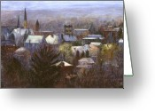 Buildings Painting Greeting Cards - Ithaca Winter Greeting Card by Ethel Vrana