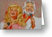 Dolly Parton Greeting Cards - Its Country - 8  Dolly Parton Kenny Rogers Greeting Card by Cliff Spohn