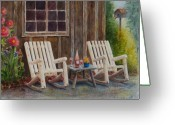 Rocking Chairs Greeting Cards - Its Five OClock Somewhere Greeting Card by Karen Fleschler