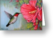 Green Greeting Cards - Its Hummer Time Greeting Card by Tanja Ware