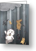 Sheepdog Mixed Media Greeting Cards - Its Raining Cats and Dogs Greeting Card by Jim Howard
