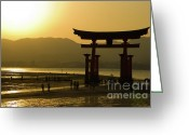 Silhouettes Greeting Cards - Itsukushima Shinto Shrine Greeting Card by Sebastian Musial