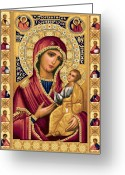Jesus  Tapestries - Textiles Greeting Cards - Iveron Theotokos Greeting Card by Stoyanka Ivanova