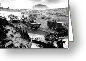 Store Digital Art Greeting Cards - Iwo Jima Beach Greeting Card by War Is Hell Store