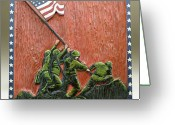 Woodcarving Reliefs Greeting Cards - Iwo Jima Greeting Card by James Neill