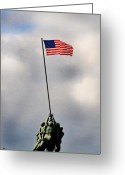 Flag Photo Greeting Cards - Iwo Jima Greeting Card by Lyle  Huisken