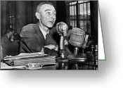 Commission Photo Greeting Cards - J. Robert Oppenheimer Greeting Card by Granger