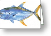 Mako Shark Greeting Cards - Jack Crevalle Greeting Card by Carey Chen