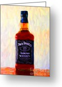 Jack Daniels Greeting Cards - Jack Daniels Tennessee Whiskey 80 Proof - Version 1 - Painterly Greeting Card by Wingsdomain Art and Photography