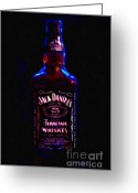 Jack Daniels Greeting Cards - Jack Daniels Tennessee Whiskey 80 Proof - Version 2 - Painterly Greeting Card by Wingsdomain Art and Photography