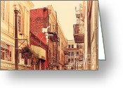Old Postcards Greeting Cards - Jack Kerouac Street San Francisco . 7D7437 Greeting Card by Wingsdomain Art and Photography