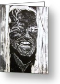 Thin Eyebrows Greeting Cards - Jack Nicholson...Heres Johnny Greeting Card by Cynthia Farmer