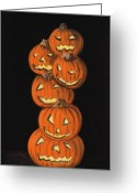 Prints Pastels Greeting Cards - Jack-O-Lantern Greeting Card by Anastasiya Malakhova