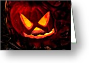 Ocularperceptions Greeting Cards - Jack-O-Lantern Greeting Card by Christopher Holmes