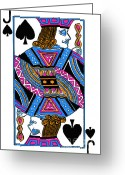 Playing Cards Greeting Cards - Jack of Spades - v3 Greeting Card by Wingsdomain Art and Photography