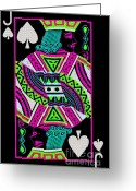 Playing Cards Greeting Cards - Jack of Spades Greeting Card by Wingsdomain Art and Photography
