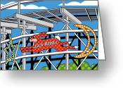 Amusement Park Greeting Cards - Jack Rabbit Greeting Card by Ron Magnes