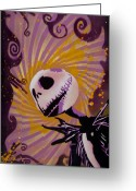 Orange Greeting Cards - Jack Skellington Greeting Card by Iosua Tai Taeoalii