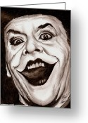 Villian Mixed Media Greeting Cards - Jack the JOKER Greeting Card by Michael Mestas