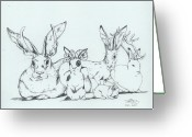 Hare Drawings Greeting Cards - Jackalopes Greeting Card by InKibus