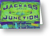 Oatman Greeting Cards - Jackass Junction Greeting Card by Randall Weidner