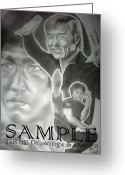 Flyers Drawings Greeting Cards - Jackie Chan And Bruce Greeting Card by Rick Hill