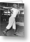 Hall Of Fame Photo Greeting Cards - Jackie Robinson, African-american Greeting Card by Science Source