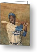 Black History Greeting Cards - Jackie Robinson Greeting Card by Robert Casilla