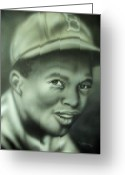 Hall Of Fame Greeting Cards - Jackie Robinson Greeting Card by Scott Easom