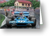 Motor Greeting Cards - Jackie Stewart at Spa in the Rain Greeting Card by David Kyte