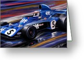 Stewart Greeting Cards - Jackie Stewart in the Rain Greeting Card by David Kyte