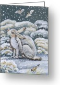 Jackrabbit Greeting Cards - Jackrabbit and Horned Larks Greeting Card by Dawn Senior-Trask