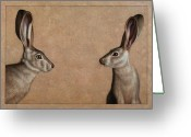 Wildlife Drawings Greeting Cards - Jackrabbits Greeting Card by James W Johnson