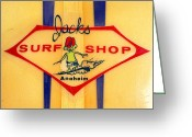 Anaheim California Greeting Cards - Jacks Surf Shop Greeting Card by Ron Regalado