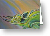 Jungle Snake Greeting Cards - Jackson Chamelion Greeting Card by Starla Peterson