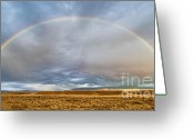 Grand Teton Panoramic Greeting Cards - Jackson Hole Rainbow Greeting Card by Sandra Bronstein